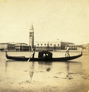 Italy Venice Venise Gondola Grand Canal Old Stereoview Photo 1865
