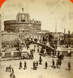 Italy Rome Roma Castel Sant'Angelo Old Stereoview Photo D'Alessandri 1865