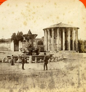 Rome Temple of Hercules Victor Forum Boarium Stereoview Photo D'Alessandri 1865