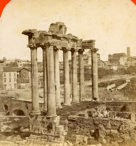Italy Rome Roma Foro Romano Saturn Temple Old Stereoview Photo D'Alessandri 1865
