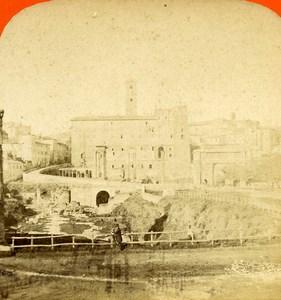 Italy Rome Roma Foro Romano Old Stereoview Photo D'Alessandri 1865
