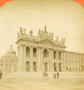 Italy Rome Archbasilica of St. John Lateran Stereoview Photo D'Alessandri 1865