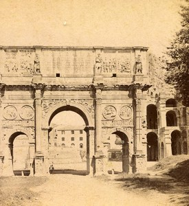 Italy Rome Roma Arch of Constantine Old Stereoview Photo Brogi 1865