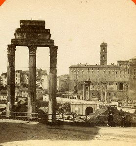 Italy Rome Roma Foro Romano Old Stereoview Photo D'Alessandri 1865