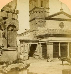 Italy Rome San Giorgio in Velabro Church Old Stereoview Photo D'Alessandri 1865