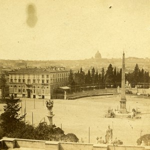Italie Rome Piazza del Popolo Obelisque Panorama ancienne Stereo Photo 1865
