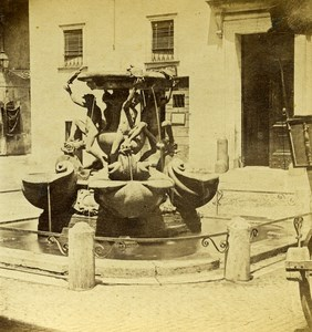 Italy Rome Roma Fontana delle Tartarughe Turtle Old Stereoview Photo 1865
