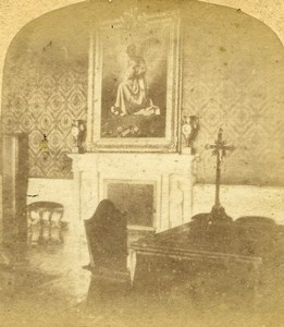Italy Rome Roma Vatican Ministers Room Old Stereoview Photo 1865