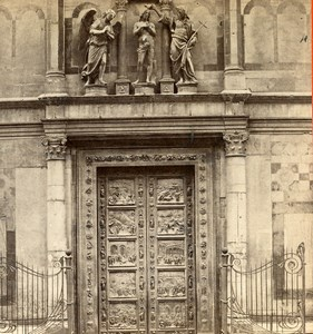 Italy Florence Firenze Baptistery door Ghiberti Old Stereoview Photo Brogi 1865