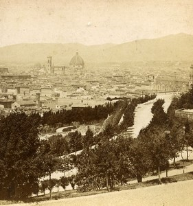 Italy Florence Firenze Panorama Viale dei Colli Old Stereoview Photo Brogi 1865