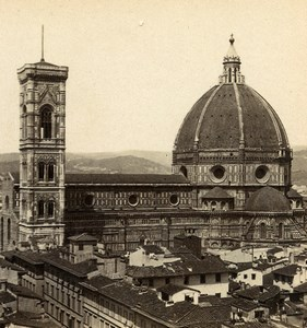 Florence Firenze Cathedral Santa Maria del Fiore Old Stereoview Photo Brogi 1865