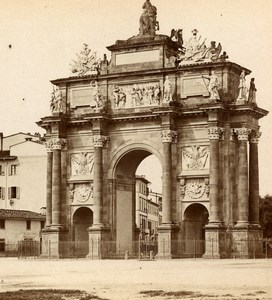 Italy Florence Firenze Piazza San Gallo Arch Old Stereoview Photo Brogi 1865