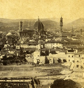 Italy Florence Firenze Panorama from Boboli Gardens Stereoview Photo Sommer 1865