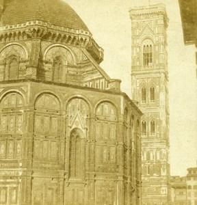 Italie Florence Cathedrale Santa Maria del Fiore Campanile ancienne Stereo Photo 1865