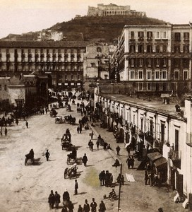 Italy Naples Napoli Strada del Molo Old Stereoview Photo Sommer 1865