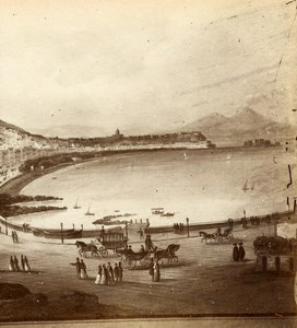 Italy Naples Napoli Panorama Riviera di Chiaja Old Stereoview Photo Sommer 1865