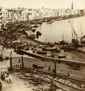 Italy Naples Napoli Panorama Marina Carmine Old Stereoview Photo Sommer 1865