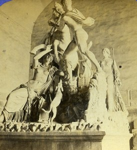 Italy Naples Napoli Museum Farnese Bull Old Stereoview Photo 1865