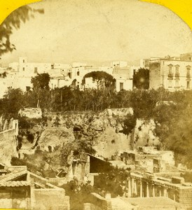 Italy Naples Napoli Panorama Ruins Old Stereoview Photo Radiguet 1865