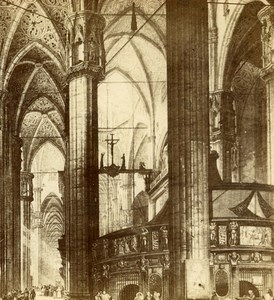 Italy Milan Milano Cathedral Interior Old Stereoview Photo Brogi 1865