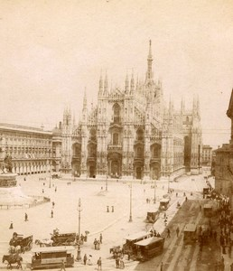 Italy Milan Milano Piazza del Duomo Cathedral Old Stereoview Photo Brogi 1865