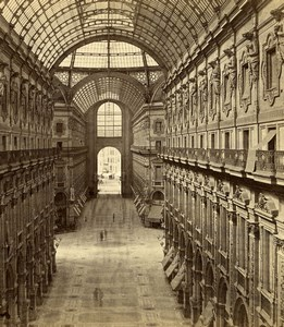 Italy Milan Milano Galleria Vittorio Emanuele II Old Stereoview Photo Brogi 1865