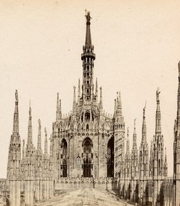 Italy Milan Milano Cathedral Old Stereoview Photo Brogi 1865