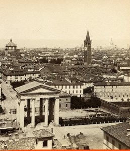 Italy Milan Milano Panorama General View Old Stereoview Photo Brogi 1865
