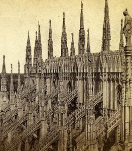 Italy Milan Milano Cathedral Duomo Detail Old Stereoview Photo Sommer 1865