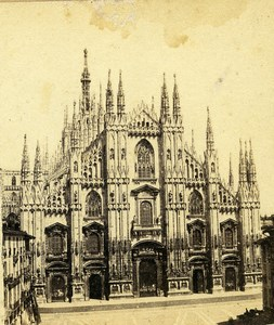 Italy Milan Milano Cathedral Duomo Old Stereoview Photo 1859