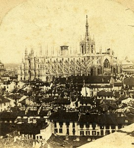 Italie Milan Panorama Cathedrale Milano Duomo ancienne Stereo Photo 1865