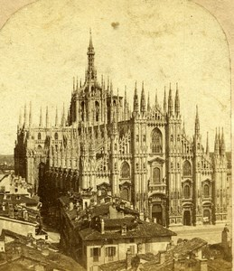 Italie Milan Cathedrale Milano Duomo ancienne Stereo Photo 1865