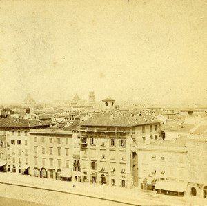Italy Pisa panorama Old Stereoview Photo Van Lint 1865
