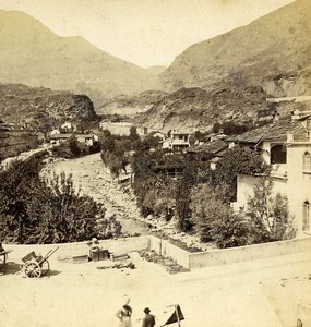 Italy Piedmont Susa Valley & Mountain Old Stereoview Photo Brogi 1865