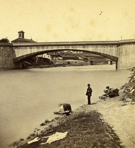 Italy Turin Torino Dora Riparia Bridge Old Stereoview Photo Brogi 1865
