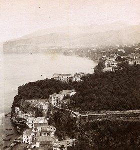 Italy Sorrento Panorama Old Stereoview Photo Sommer 1865
