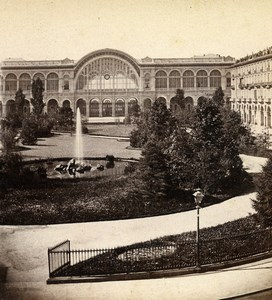 Italy Turin Torino railway station & garden Old Stereoview Photo Brogi 1865