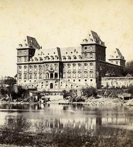 Italy Turin Torino Castello del Valentino River Po Stereoview Photo Brogi 1865