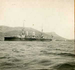 France Toulon Harbor Military Ship Old Stereoview Photo SIP 1900