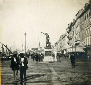 France Toulon Harbor carré du Port Square Old Stereoview Photo SIP 1900