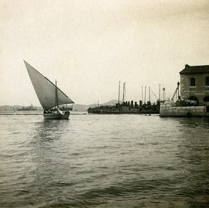 France Toulon Harbor Entry Sailboat Old Stereoview Photo SIP 1900
