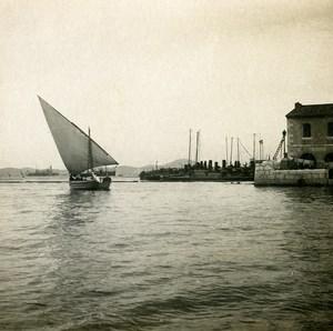 France entrée du Port de Toulon Voilier Ancienne Photo Stéréo SIP 1900