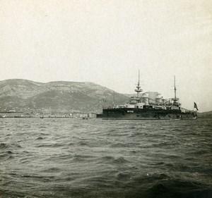 France Toulon un cuirassé Militaire Ancienne Photo Stéréo SIP 1900