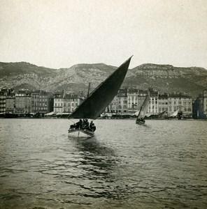 France Toulon Le Port Panorama Voilier Ancienne Photo Stéréo SIP 1900