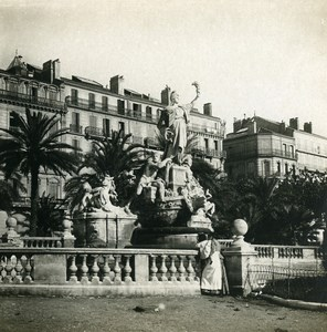 France Toulon Harbor Federation Monument Old Stereoview Photo SIP 1900