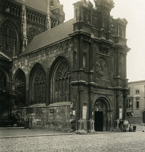Belgique Liège Eglise St Jacques Portail nord Ancienne Photo Stereo NPG 1900's