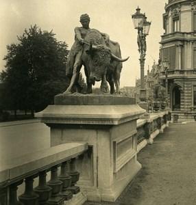 Belgique Liège Statue du Taureau Ancienne Photo Stereo NPG 1900's