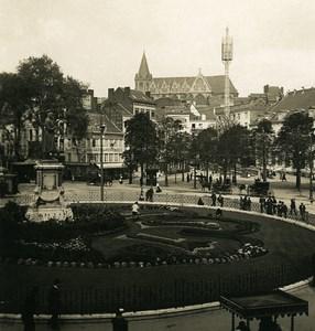 Belgique Liège Place du Théâtre Ancienne Photo Stereo NPG 1900's
