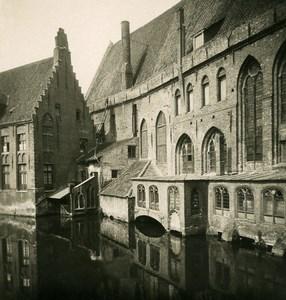 Belgique Bruges Brugge Hopital Saint Jean Ancienne Photo Stereo NPG 1900's