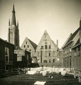 Belgique Bruges Brugge Hopital Saint Jean Cordes a Linge Ancienne Photo Stereo NPG 1900's